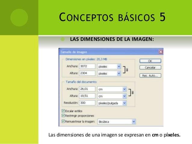 CONCEPTOS BÁSICOS 5  LAS DIMENSIONES DE LA IMAGEN: Las dimensiones de una imagen se expresan en cm o píxeles.