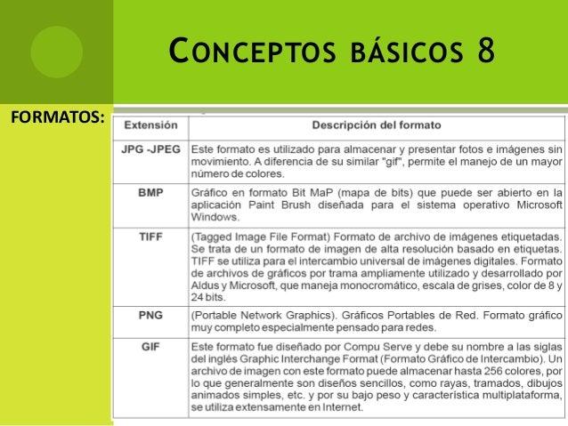 CONCEPTOS BÁSICOS 8 FORMATOS: