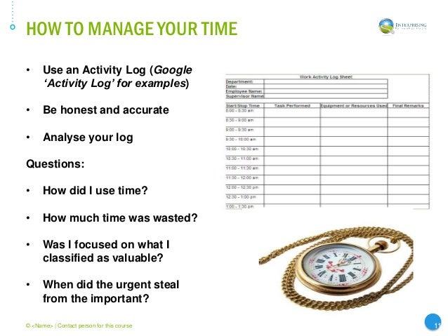 time management log