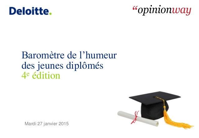 Baromètre de l'humeur des jeunes diplômés 4e édition Mardi 27 janvier 2015