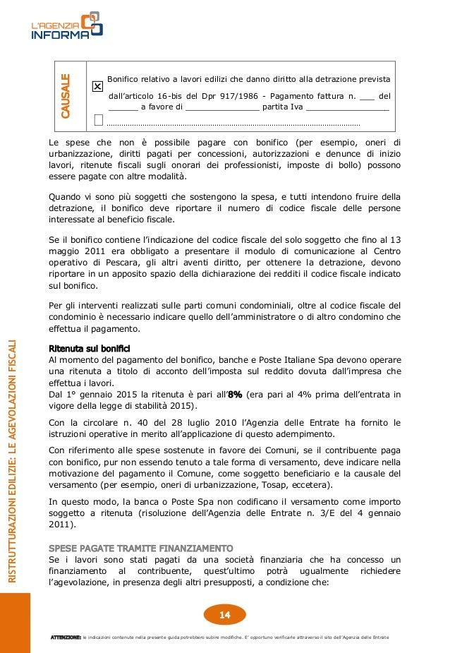 Ristrutturazioni edilizie agevolazioni fiscali 2015 - Art 16 bis tuir causale bonifico ...