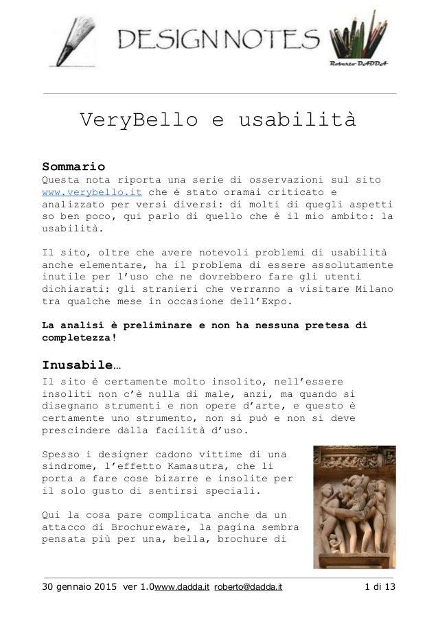 VeryBelloeusabilità Sommario Questanotariportaunaseriediosservazionisulsito www.verybello.itcheèstatoor...