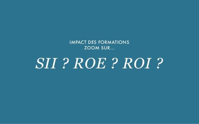 UNE SOLUTION PROPOSÉE PAR CBNM PARTNERS SAS - 2015 IMPACT DES FORMATIONS ZOOM SUR... SII ? ROE ? ROI ?