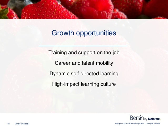 Copyright © 2014 Deloitte Development LLC. All rights reserved.31 Simply Irresistible Training and support on the job Care...