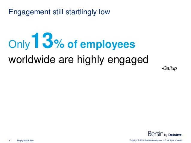 Copyright © 2014 Deloitte Development LLC. All rights reserved.6 Simply Irresistible Only13% of employees worldwide are hi...