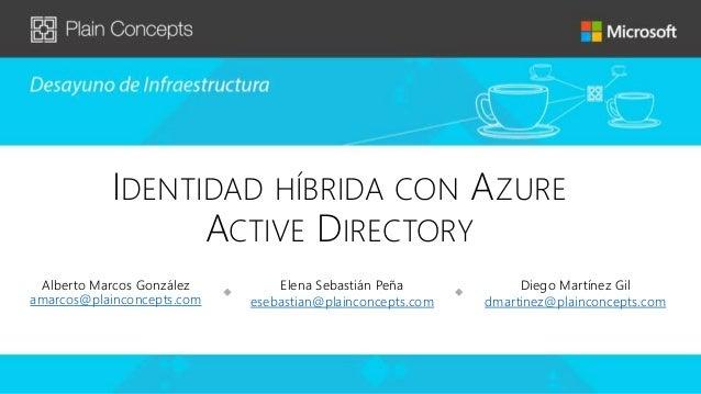 IDENTIDAD HÍBRIDA CON AZURE ACTIVE DIRECTORY Alberto Marcos González amarcos@plainconcepts.com Elena Sebastián Peña esebas...