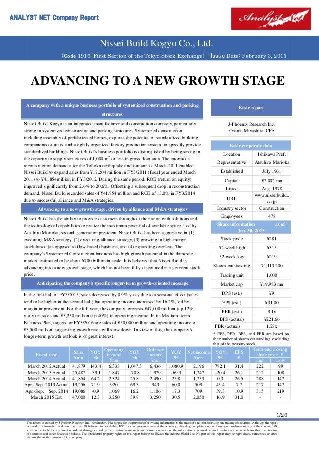 Analyst Report Nissei Build Kogyo Co , Ltd