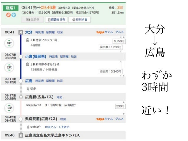 大分 ↓ 広島 わずか 3時間 近い!