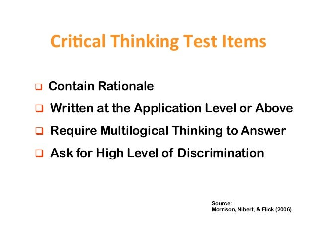 critical thinking analysis test