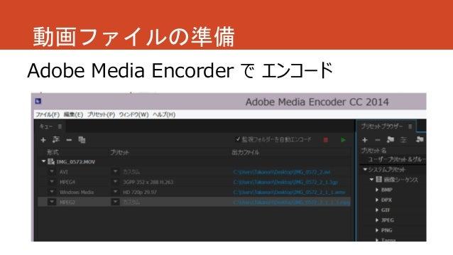 Adobe Media Encorder で エンコード 動画ファイルの準備