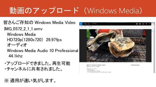 動画のアップロード(Windows Media) ・アップロードできました。再生可能 ・チャンネルに共有されました。 IMG_0572_2_1_1.wmv Windows Media HD720p(1280x720) 29.97fps オーディ...