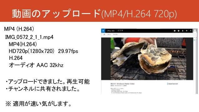 動画のアップロード(MP4/H.264 720p) ・アップロードできました。再生可能 ・チャンネルに共有されました。 IMG_0572_2_1_1.mp4 MP4(H.264) HD720p(1280x720) 29.97fps H.264 ...