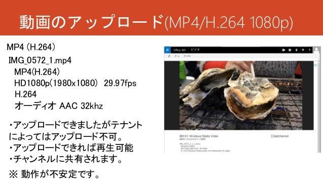 動画のアップロード(MP4/H.264 1080p) ・アップロードできましたがテナント によってはアップロード不可。 ・アップロードできれば再生可能 ・チャンネルに共有されます。 IMG_0572_1.mp4 MP4(H.264) HD108...