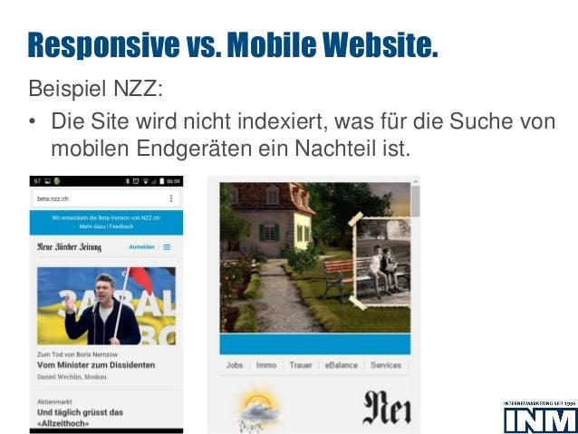 SEO Beispiel NZZ: • Die Site wird nicht indexiert, was für die Suche von mobilen Endgeräten ein Nachteil ist. Responsive v...