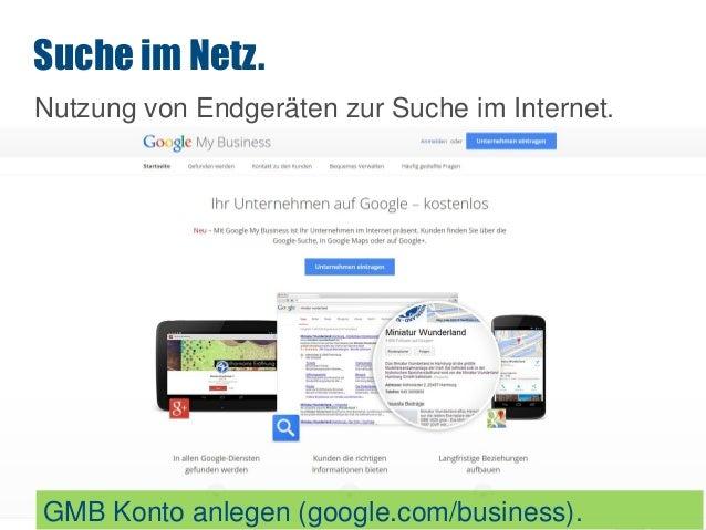 SEO Nutzung von Endgeräten zur Suche im Internet. Suche im Netz. GMB Konto anlegen (google.com/business).