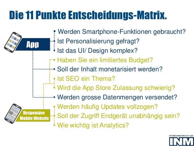 • Werden Smartphone-Funktionen gebraucht? • Ist Personalisierung gefragt? • Ist das UI/ Design komplex? • Haben Sie ein li...