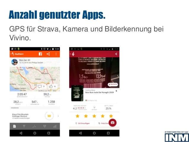 SEO GPS für Strava, Kamera und Bilderkennung bei Vivino. Anzahl genutzter Apps.