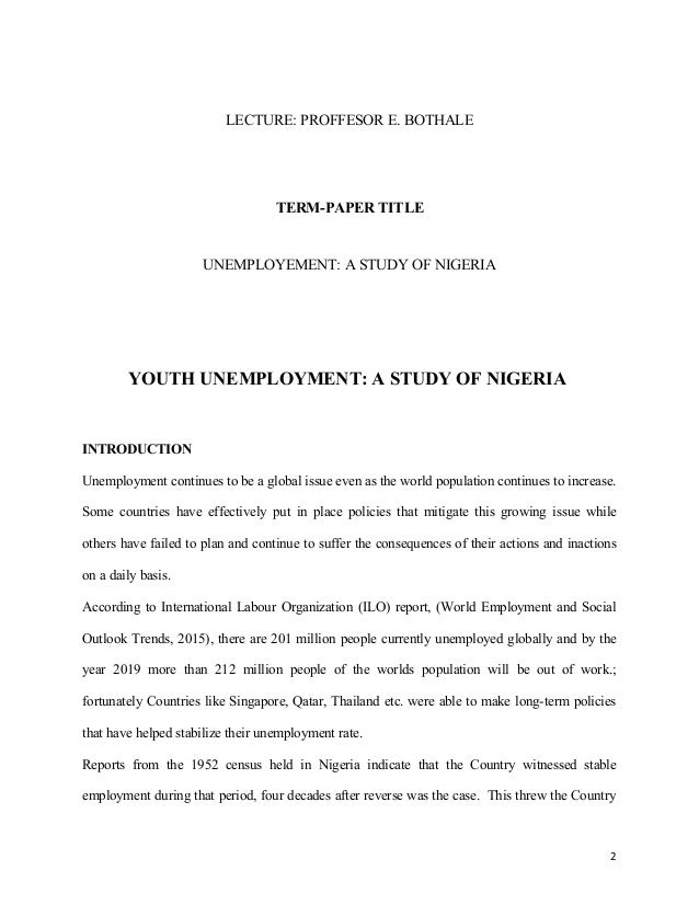 Youth Unemployment in Nigeria