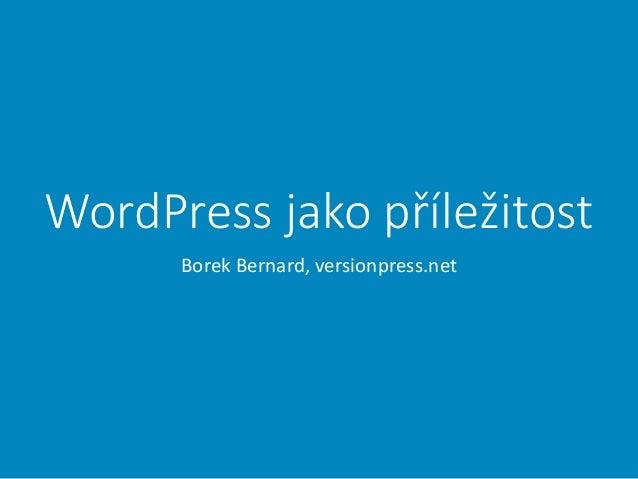 WordPress jako příležitost Borek Bernard, versionpress.net