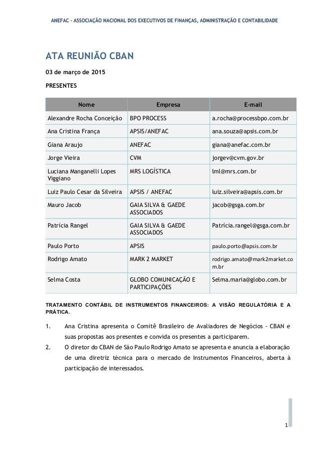 ATA REUNIÃO CBAN 03 de março de 2015 PRESENTES Nome Empresa E-mail Alexandre Rocha Conceição BPO PROCESS a.rocha@processbp...