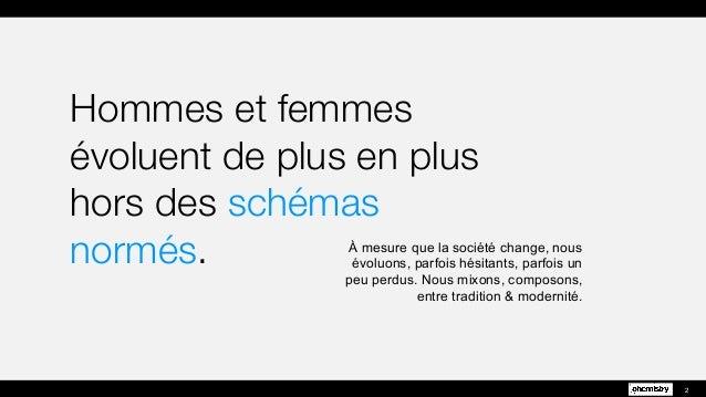 Hommes et femmes  évoluent de plus en plus  hors des schémas normés. 2 À mesure que la société change, nous évoluons, parf...