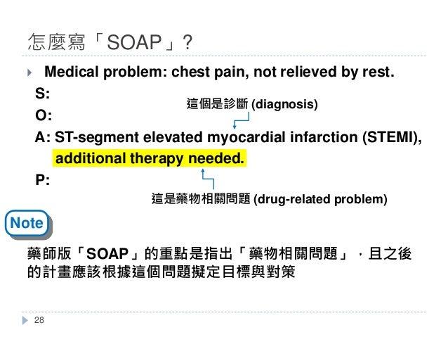 怎麼寫「SOAP」? } Medical problem: chest pain, not relieved by rest. S: O: A: ST-segment elevated myocardial infarction (STEMI)...
