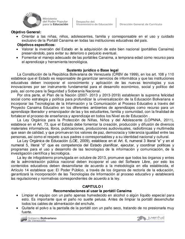 NORMAS PARA EL USO DE LA PORTATIL CANAIMA COMO BIEN NACIONAL Slide 2