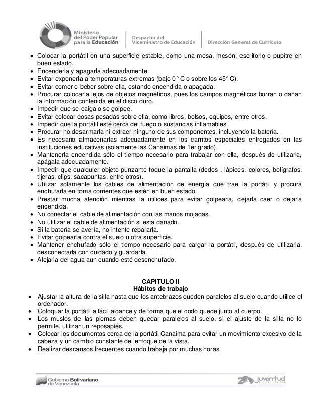 NORMAS PARA EL USO DE LA PORTATIL CANAIMA COMO BIEN NACIONAL Slide 3