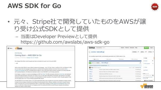 AWS Mobile SDK for Xamarin • クロスプラットフォームの開発環境である XamarinのPlugin – 評価用のベータ版として提供中 – https://github.com/awslabs/aws-sdk-xama...