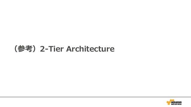 (参考)2-Tier Architectureのメリット • アプリの開発に多くのメリット: – バックエンド側の開発コストを最小化 – バックエンド側の運用コストを最小化 – スケーラビリティの心配なし – バックエンドのEC2を減らせるため...