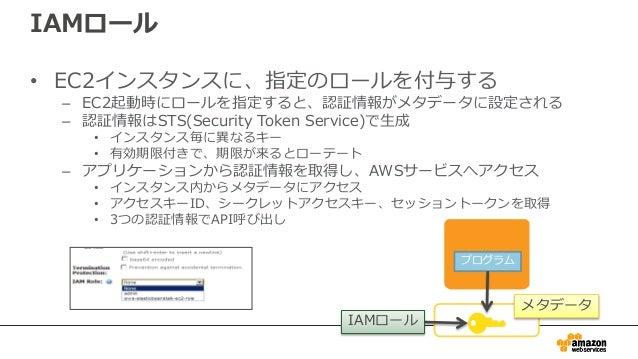 モバイルアプリの場合、Amazon Cognitoを使うこと で • 認証情報をアプリ内に埋め込む必要なし – IAMロールが割り当てられた一時的な認証情報をアプリで「簡単 に」取得可能 • AWSの各種リソースへのアクセスをきめ細やかに 設定...