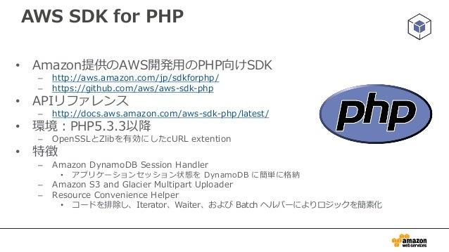 利用方法 • Composerによるインストール(推奨) – http://docs.aws.amazon.com/aws-sdk- php/guide/latest/installation.html#installing-via-compo...