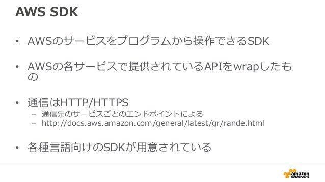 動作イメージ 起動、停止 Put,Get DB起動 バックアップ 情報取得 AWS SDK 認証情報 ロギング