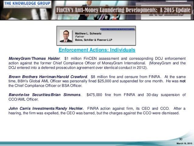 Fincen s anti money laundering developments a 2015 update live webca - Moneygram compliance officer ...