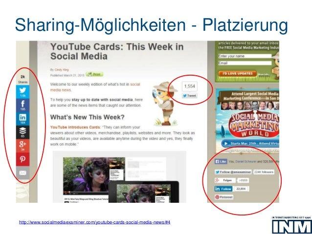 Sharing-Möglichkeiten - Platzierung http://www.socialmediaexaminer.com/youtube-cards-social-media-news/#4