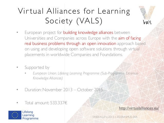 Vir tual Alliances for Learning Society (VALS) • European project for building knowledge alliances between Universities a...