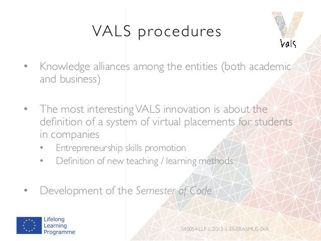 VALS procedures • Knowledge alliances among the entities (both academic and business) • The most interestingVALS innovat...