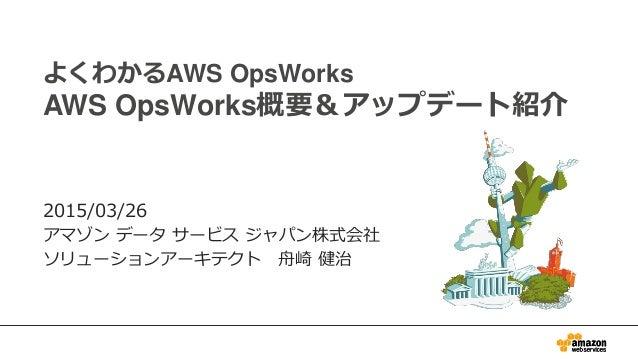 よくわかるAWS OpsWorks AWS OpsWorks概要&アップデート紹介 2015/03/26 アマゾン データ サービス ジャパン株式会社 ソリューションアーキテクト 舟崎 健治