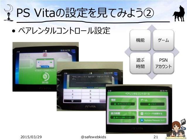 PS Vitaの設定を見てみよう② • ペアレンタルコントロール設定 機能 ゲーム 遊ぶ 時間 PSN アカウント 2015/03/29 @safewebkids 21