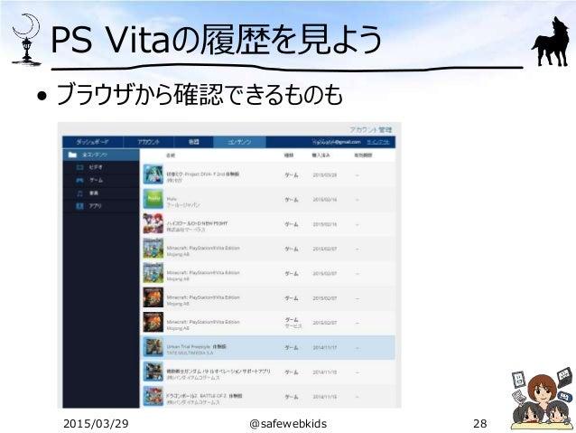 PS Vitaの履歴を見よう • ブラウザから確認できるものも 2015/03/29 @safewebkids 28