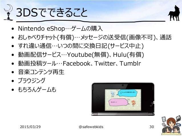 3DSでできること • Nintendo eShop…ゲームの購入 • おしゃべりチャット(有償)…メッセージの送受信(画像不可)、通話 • すれ違い通信…いつの間に交換日記(サービス中止) • 動画配信サービス…Youtube(無償)、Hul...