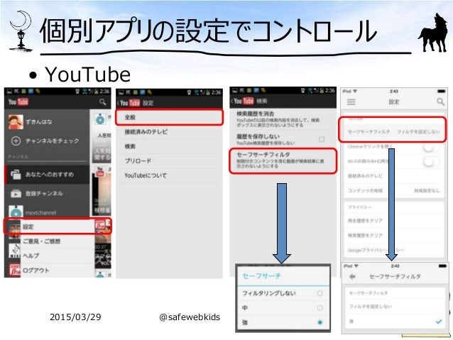 個別アプリの設定でコントロール • YouTube 2015/03/29 @safewebkids
