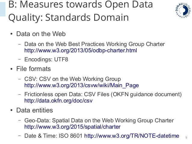 Institutionalising open data quality - Processes Standards, Tools
