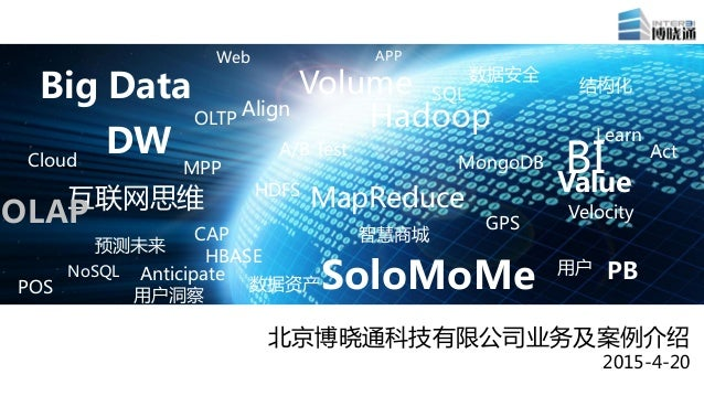 Big Data DW Web APP Volume Hadoop Learn BI SoloMoMe MapReduce 用户洞察 预测未来 互联网思维 数据安全 用户 数据资产 智慧商城 结构化 Value Cloud HBASE HDFS...