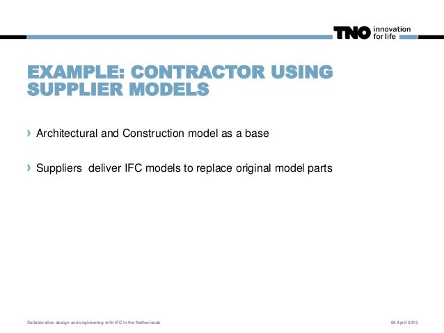 EXAMPLE: 3 IFC EXPORTS FROM 1 MODEL Because that is what collaboration is about! 08 April 2015Collaborative design and eng...