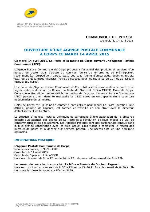 DIRECTION DU RESEAU DE LA POSTE DE L'ISERE SERVICE DE PRESSE RHÔNE-ALPES La Poste - Société Anonyme au capital de 3 800 00...