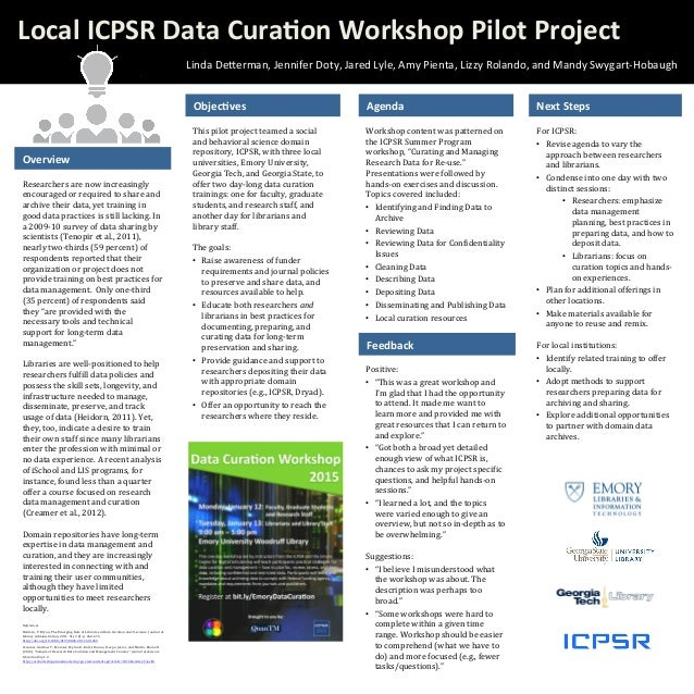 """Workshop  content  was  patterned  on   the  ICPSR  Summer  Program   workshop,  """"Curating  and  M..."""