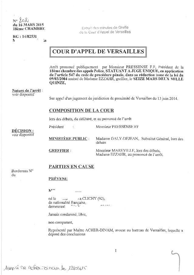 """N""""'Ín{t du 16 MARS 2015 l8ème CHAMBRE RG: 14102531 n tn Extrait des minutes de Greffe de la Cour cJ'Appel de Versailles Ar..."""