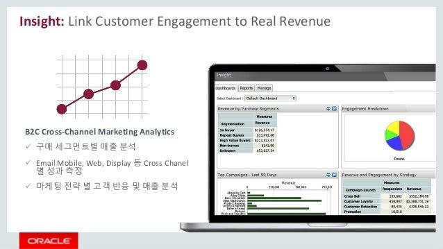 Insight: Link Customer Engagement to Real Revenue  구매 세그먼트별 매출 분석  Email Mobile, Web, Display 등 Cross Chanel 별 성과 측정  마...