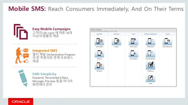 Easy Mobile Campaigns 고객의 Life-cycle 에 따른 10개 이상의 템플릿 제공 Integrated SMS 멀티 채널 Orchestration Program 의 한 부분의로 연계 프로세스 제공 SM...